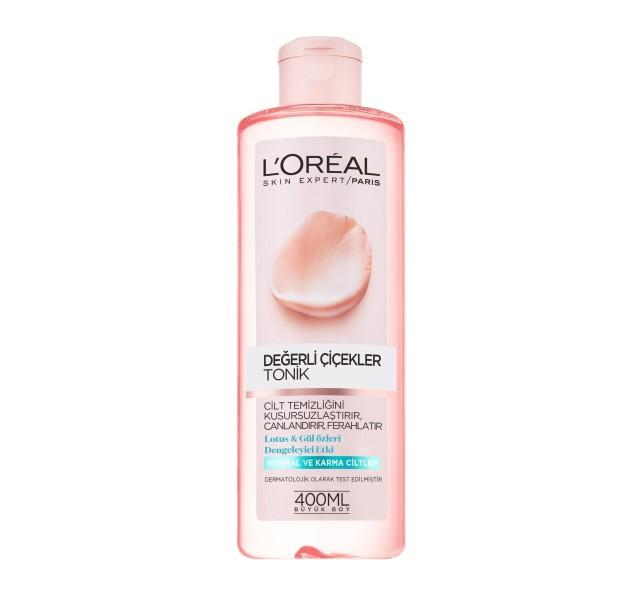 تونیک پاک کننده صورت لورال - L'Oreal Paris Fine Flowers Normal and Combination Skin Cleansing Toner 400 ml