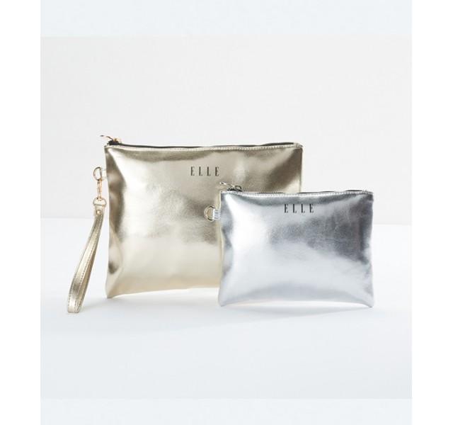 کیف لوازم آرایش 2تایی اله Elle Metallic Flat Pouch with Zip Closure - Set of 2