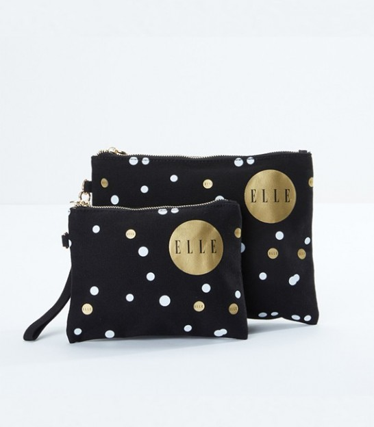 کیف لوازم آرایش 2تایی اله Elle Polka Dot Printed 2-Piece Cosmetic Bag Set