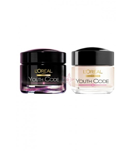 پک کرم ضدچروک روز و شب لورال L'Oreal Youth Code Anti Aging Night and Day Cream 50Ml